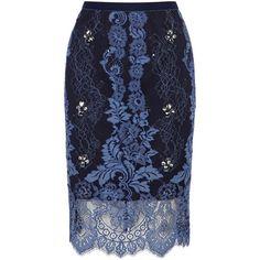 Coast Kamlai skirt petite ($69) ❤ liked on Polyvore featuring skirts, clearance, navy, petite, embellished pencil skirt, navy blue pencil skirt, lace pencil skirt, lace skirt and blue skirt
