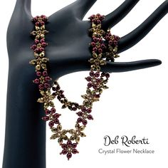 Deb Roberti's Crystal Flower Pattern Collection Crystal Flower, Beading Tutorials, Flower Patterns, Seed Beads, Brooch, Crystals, Flowers, Collection, Jewelry