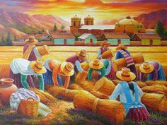 pinturas peruanas andinas - Buscar con Google Mexican Paintings, Colorful Paintings, Arte Latina, Peruvian Art, Cuban Art, Mexican Artists, Arte Popular, African American Art, Naive Art