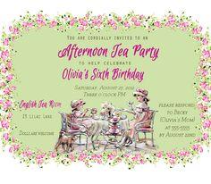 Custom  Birthday Invite - Tea Party Invitations- DIY Custom Printable teatime, thank you. $12.00, via Etsy.