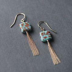 santorini  BACKORDER  bead and tassel earrings by elephantine