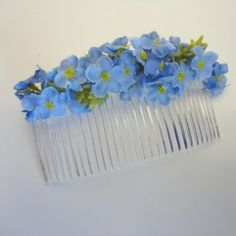 Blue Forget me Not Hair Comb