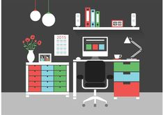 Free Modern Home Office Interior Vector Icons