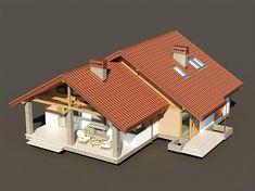 Projekt domu Maja II 108,43 m2 - koszt budowy 187 tys. zł - EXTRADOM Modern Bungalow House, Simple House, Farm House, Exterior, House Design, Architecture, Home Decor, House Template, Garden