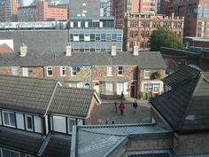 A partial image of the Granada Studios backlot in Manchester city centre which housed the Coronation Street set from 1982 until 2014.