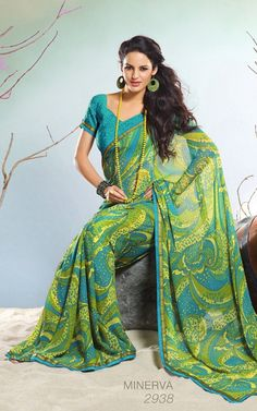 Sea blue faux georgette saree with blouse