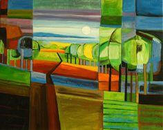 Cuadros abstractos, cuadros modernos con paisajes abstractos, II-Campo de ilusion