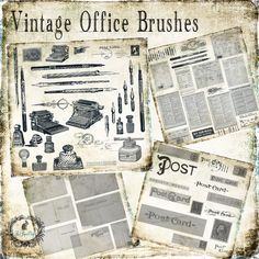 Vintage Office & Postcard Brush Set by Le Paper Cafe on Creative Market
