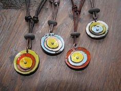 Valentines day. Torch-fired Enamel Poppy Pendants, Rustic, Weathered Necklaces on Etsy, $52.00