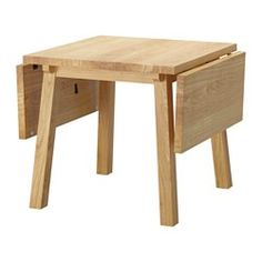 IKEA - MÖCKELBY, Drop-leaf table, Table with a top layer of solid wood, a hardwearing natural material that can be sanded and surface treated when required.Good environmental choice, because the method of using a top layer of solid wood on particleboard is resource-efficient.The table has a full plank design that gives it an authentic plank expression with a genuine wood feeling.The plank expression is enhanced by the design on the edges.Every table is unique, with varying grain pattern and…