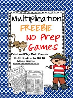 Multiplication freebie from Teachers Pay Teachers. Print and play maths games in pirate theme.