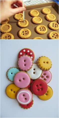 Button Cookies, No Bake Desserts, Dessert Recipes, Cookie Box, Spring Party, Halloween Cookies, Diy Christmas Gifts, Creative Food, Cake Cookies