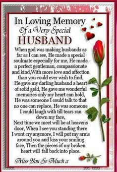 Husband in Heaven Poems . -----------TTS In loving Memory of my Angels: Angelversary My sweet Husband today ( my Mom too tomorrow went to Heaven different years - still miss them with all my heart every day Heaven Poems, Heaven Quotes, Love Quotes, Super Quotes, Missing My Husband, Husband Love, Husband Prayer, Perfect Husband, Happy Husband