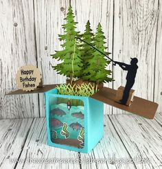 Pop-Up Box by Rachel Alvarado [(dies) CottageCutz Rustic Sign & Trees; The Stamps of Life Exclusive Box Card, Grass; (stamps) Lawn Fawn Fintastic Friends, M Pop Up Box Cards, 3d Cards, Card Boxes, Cricut Cards, Stampin Up Cards, Cards For Men, Box Cards Tutorial, Exploding Box Card, Masculine Birthday Cards