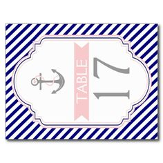 Naby blue, pink nautical wedding table number post card