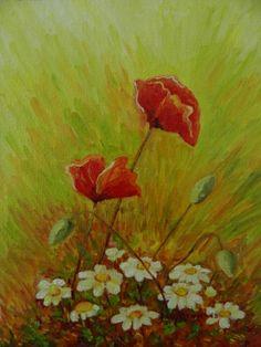 Amapolas con flores blancas