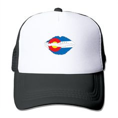 """Adult Colorado Lips The Adjustable Snapback Mesh Hat. 100% Nylon Mesh Back Keeps You Cool. 100% Polyester Foam Front. Hand Washing Only. Adjustable From 17"""" To 24"""". Customized Pattern Design,Perfect As A Gift,High Quality And Environmentally Friendly Printed."""