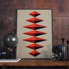 Poster retro style retro Print Poster Geometric by AngelaFerrara