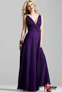 Purple Strapless A-line Style Chiffon V-neck Bridesmaid Dress With a Long Sash At a Low Price