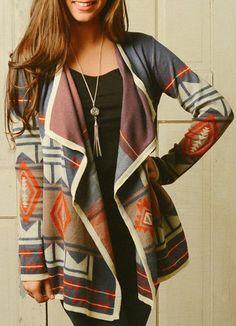 Trendy Turn-Down Neck Long Sleeve Geometric Pattern Cardigan For Women