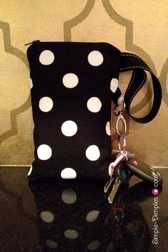 DIY Wristlet pouch with card slots that fits checks/iphone