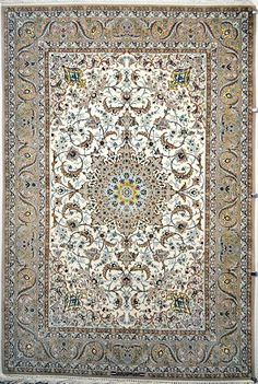 Isfahan Silk Persian Rug - Item# 784 Size: 230 x 153 (cm) 6 x 0 (ft) Persian Carpet, Persian Rug, Iranian Rugs, Rug Inspiration, Magic Carpet, Carpet Colors, Floor Rugs, Rugs On Carpet, Decoration