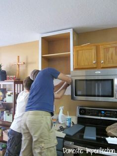 How to Raise Your Cabinets & Add a Shelf — Domestic Imperfection Kitchen Cabinets To Ceiling, Kitchen Cabinet Remodel, Kitchen Redo, Kitchen Ideas, Kitchen Windows, Wall Cabinets, Cheap Kitchen, Kitchen Pictures, Green Kitchen