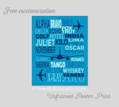 Phonetic Aviation Alphabet - You Choose the Colors, Perfect Gift for a Nursery or Baby Shower, Boy's Room Art, Modern Airplane Wall Art by twenty3stars on Etsy