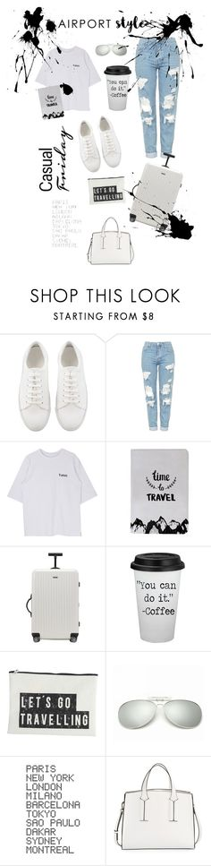 """""""Airport style 2 // contest🖤"""" by jodiemccrea ❤ liked on Polyvore featuring Topshop, Rimowa, House Doctor, ADZif and French Connection"""