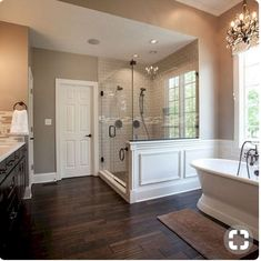 free standing tub wood tile floor huge double shower master bathroom by sandyadler Bad Inspiration, Bathroom Inspiration, Bathroom Ideas, Bathroom Designs, Paint Bathroom, Bathtub Ideas, Bathroom Vanities, Bathroom Layout, Bathroom Colors