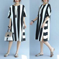 Round Neck Stripe Splicing Summer Women Black Dress