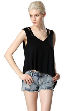 ACEVOG Stylish Lady Sexy Women's Casual Fashion Sleeveless V-neck Irregular Faux 2pcs Tank Tops_T-Shirts & Tanks_TOPS_CLOTHING_The Latest Trends & Fashion Clothing For Women Online Store-www.dressin.com