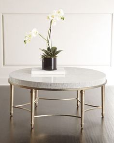 "Cynthia Rowley for Hooker Furniture Aura Round Coffee Table $1,959.00 Top covered in mother of pearl. Gilt finish on legs and stretcher. 42""Dia. x 42""T."