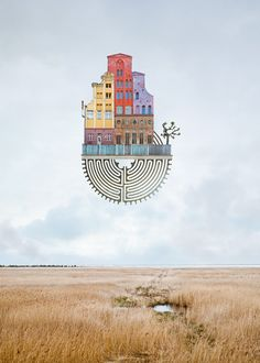 Architectural Short Poems - German artist Matthias Jung combines architecture and real life landscapes for these surrealistic scenes