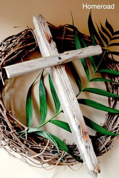 Rustic Easter Crosses w/palm branch