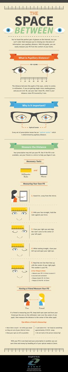 The Space Between - Measuring your pupillary distance #infographic #Eye #Health #Glasses #infografía