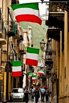 Italian flags in the streets of Rome.