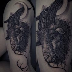 Goat tattoo on the left thigh.