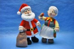 Mr & Mrs Christmas Santa Alan Dart knit toys
