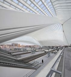 The Liège-Guillemins TGV railway Station by Spanish architect Santiago Calatrava, is made by a vaulted glass and steel canopy in Liege, Belgium. Architecture Concept Drawings, Vintage Architecture, Futuristic Architecture, City Architecture, Amazing Architecture, Architecture Details, Santiago Calatrava, Airport Design, Urban Planning