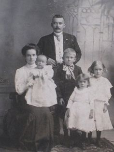 Antique Cabinet Card Photo of Family With Four Children