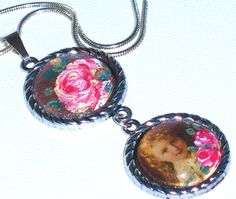 Hand Paint Vintage Pendant Necklace by GoddessArtCollection