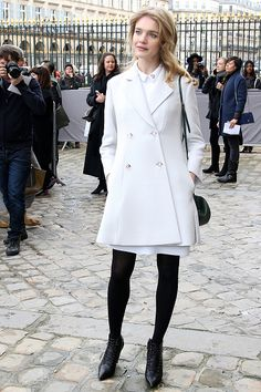 Natalia Vodianova arrives at the Christian Dior show as part of the Paris Fashion Week Womenswear Fall/Winter 2016/2017 on March 4 2016 in Paris...