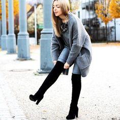 Zara Grey Cardigan, H&M Grey Skinny Jeans, Anna Field Suede Overknees