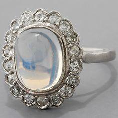 dream engagement/wedding ring.  Vintage Platinum Blue Moonstone and  Diamond Cocktail Ring