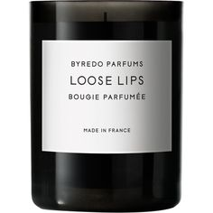 Byredo Loose Lips Fragrance Candle featuring polyvore, home, home decor, candles & candleholders, fillers, candles, beauty, black fillers, colorless, rose scented candles, rose candle, byredo, black candles and fragrance candles