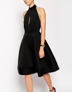 ASOS | ASOS Halter Neck Full Midi Dress With Plunge at ASOS