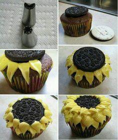 sun cupcake ideas | Sunflower cupcakes | Cake decorating ideas