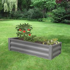 Easily build and yield a successful garden without tools with Greenes Fence Antique Iron Pre-Galvanized Powder Coated Steel Raised Garden Bed Planter. Metal Raised Garden Beds, Elevated Garden Beds, Raised Garden Bed Plans, Raised Flower Beds, Landscaping With Rocks, Backyard Landscaping, Landscaping Ideas, Backyard Ideas, Garden Ideas