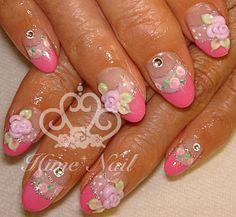 Rose 3D nail art, www.himenails.com, Japanese Nail Artist, Tustin, Orange County, CA.